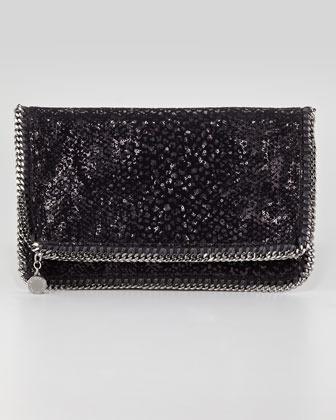 Stella McCartney Falabella Sequin Fold-Over Clutch Bag