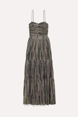 Rebecca Vallance Bellagio Tiered Lurex Maxi Dress - Gold