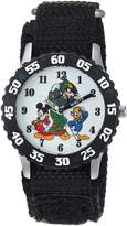 Disney Boy's 'Mickey Mouse' Quartz Stainless Steel and Nylon Casual Watch, Color: (Model: WDS000186)