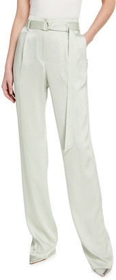 Lapointe Stretch Crinkle Satin High-Waist Belt Pants