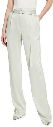 Sally LaPointe Stretch Crinkle Satin High-Waist Belt Pants