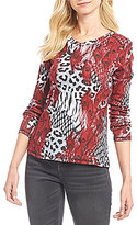 Westbound Animal Print Rib V-Neck Top
