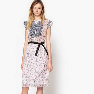 La Redoute Collections Floral Dress with Striped Ruffles on the Front