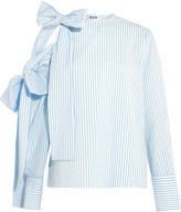 MSGM Bow-embellished Cold-shoulder Striped Seersucker Top - Sky blue