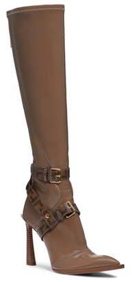 Fendi Logo Harness Pointy Toe Knee High Boot