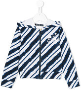 Miss Blumarine striped hoodie - kids - Cotton/Spandex/Elastane - 6 yrs