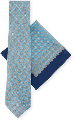 Stefano Ricci Medallion-Print Silk Tie & Pocket Square Set