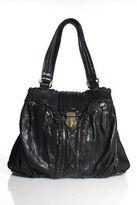 Treesje Black Leather Ruffle Trim Twist Lock Closure Shoulder Handbag