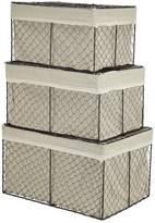 August Grove Fieldon 3 Piece Rectangular Lined Wire Storage Basket Set