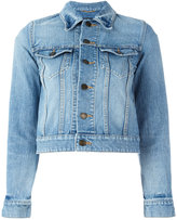 Saint Laurent Love patch cropped denim jacket - women - Cotton - M