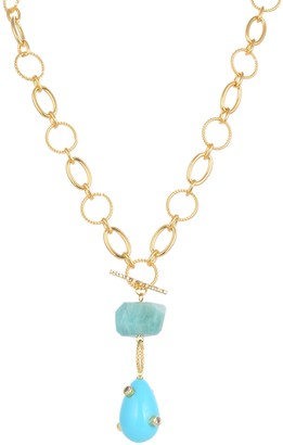 Eye Candy Los Angeles Arya Amazonite & Pave CZ Statement Pendant Necklace