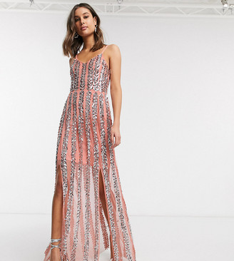 Maya Tall cami floral embellished stripe maxi dress in coral