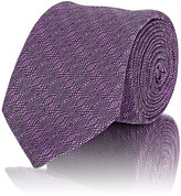 Barneys New York MEN'S GEOMETRIC-PATTERN JACQUARD NECKTIE-PURPLE