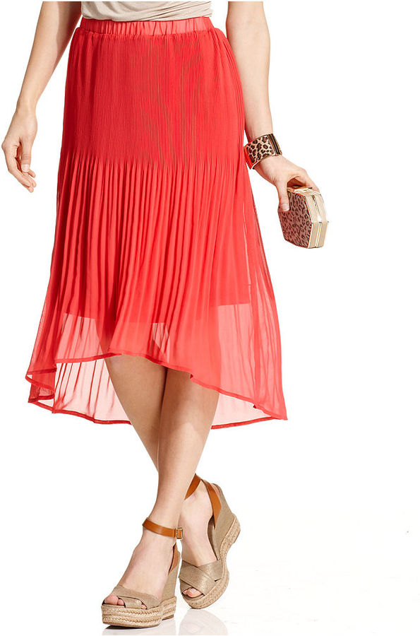Style&Co. Skirt, Pleated Chiffon High-Low