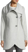 T Tahari Tulip-Hem Wool-Blend Coat, Light Gray