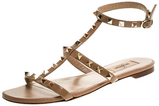 Valentino Beige Patent Leather Rockstud Ankle Strap Flat Sandals Size 38