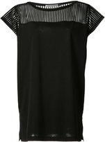 Issey Miyake sheer panel top - women - Polyester/Cotton - 2