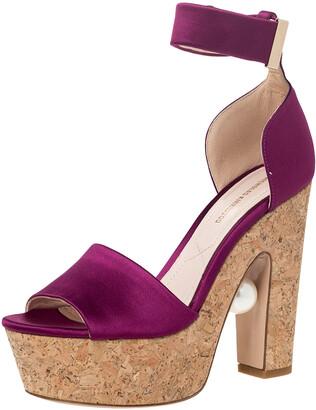 Nicholas Kirkwood Purple Satin Maya Pearl Platform Ankle Strap Sandals Size 36.5