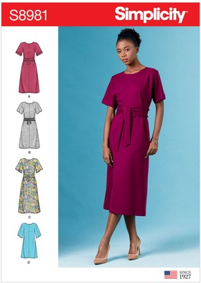 Simplicity Women's Pull-On Dress Sewing Pattern, 8981