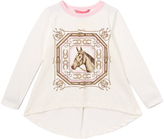 E-Land Kids Ivory Horse Portrait Tee - Toddler & Girls