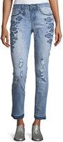 Nanette Nanette Lepore Unfinished-Hem Embroidered Boyfriend Jeans