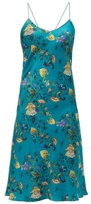 Adriana Iglesias Jadi Floral-print Silk-blend Satin Slip Dress - Womens - Blue Multi