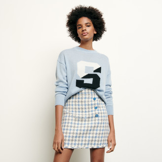 Sandro Short houndstooth tweed skirt