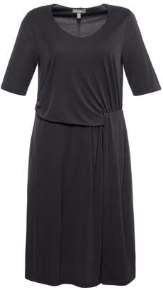Ulla Popken Draped Knee-Length Dress with Short Sleeves