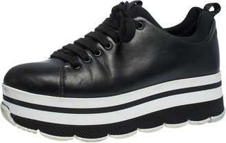 Prada Black Leather Platform Derby Sneakers Size 38