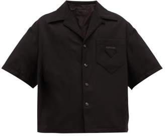 Prada Logo-applique Virgin Wool-blend Bowling Shirt - Mens - Black