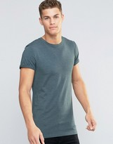 Asos Longline Muscle T-Shirt With Roll Sleeve In Green Marl