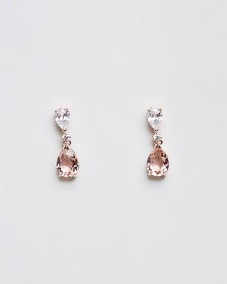 Swarovski Vintage Pear Pendant Rose Gold Earrings and Crystal