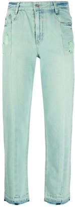 Sjyp Cropped Color Washed Jeans