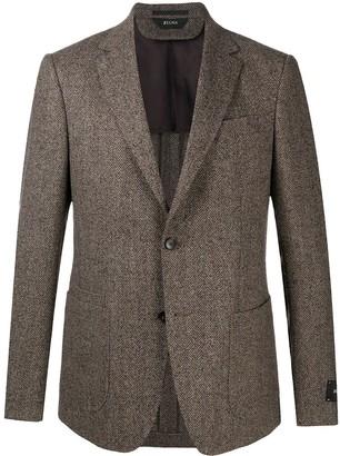 Ermenegildo Zegna Single Breasted Herringbone Jacket