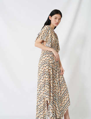 Maje Printed scarf dress with smocked waist