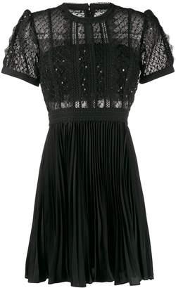Self-Portrait pleated sequin-embellished dress