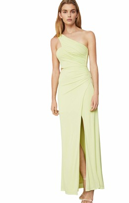 BCBGMAXAZRIA Women's Asymmetric Satin Cutout Gown