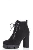 Quiz Black Faux Suede Lace Up Ankle Boots