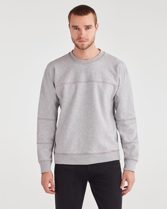 7 For All Mankind Paneled Fleece Sweatshirt in Heather Grey