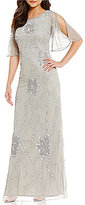 Pisarro Nights Beaded Flutter Sleeve Gown