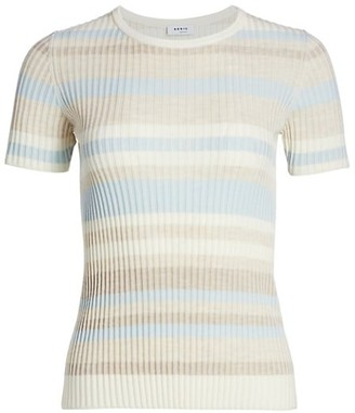 Akris Punto Striped Ribbed Short-Sleeve Wool Sweater