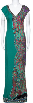 Etro Green Paisley Printed Stretch Crepe Bead Embellished Maxi Dress S