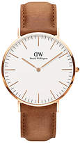 Daniel Wellington DW00100109 Men's Classic Durham Leather Strap Watch, Tan/White