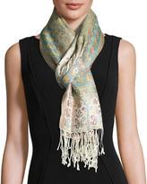 Sabira Naseem Floral & Paisley Silk Scarf, Ivory