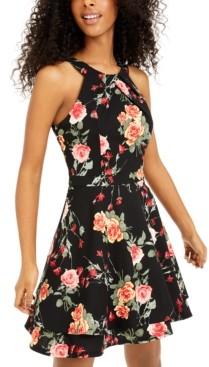 Emerald Sundae Juniors' Floral-Print Mesh-Trim Fit & Flare Dress