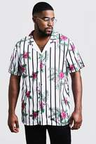 BoohooMAN Big & Tall Floral Stripe Revere Jersey Shirt
