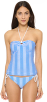Shoshanna Textured Stripe Ring Tankini Top