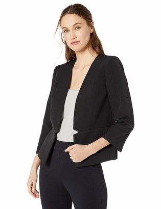 Tahari ASL Women's Collarless Waist Seam Jacket