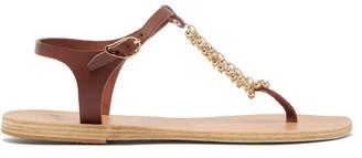 Ancient Greek Sandals Iokasti Charm T Bar Leather Sandals - Womens - Dark Brown