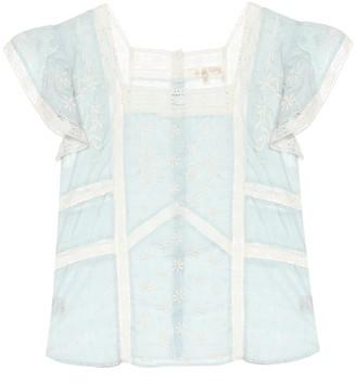 LoveShackFancy Steffi lace-trimmed cotton blouse